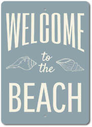 Personalized Beach Welcome Decor Custom Welcome Sign Aluminum Metal Cabin Decor $17.95
