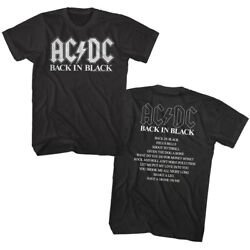 Acdc Back In Black Song List Men's T Shirt Rock Band Tee Music Merch Top