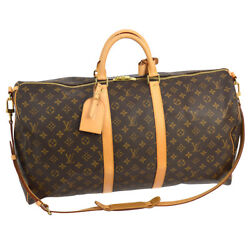 AUTH LOUIS VUITTON KEEPALL 55 BANDOULIERE 2WAY TRAVEL HAND BAG MONOGRAM S07712