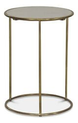14†Round Set Of Two Side Table Slim Modern Brass Base White Marble Top