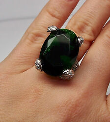 925 STERLING SILVER RING with CENTRAL GREEN LITE STONE CUBIC ZIRCONIA STONES