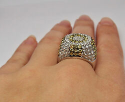 925 STERLING SILVER RING with WHITE and YELLOW PAINTED CUBIC ZIRCONIA STONES