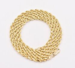 4mm Diamond Cut Solid Rope Chain Necklace Real 14k Yellow Gold All Sizes