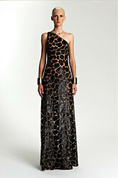 *MICHAEL KORS COLLECTION*  Couture Animal Sequined Tulle One Shoulder Gown NWT 4