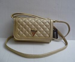 Authentic GUESS Women's Sandy Wallet On a String Crossbody Bag  Gold Quilt New