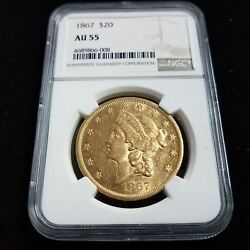 1867 $20 American Gold Double Eagle NGC AU55 20 Dollar Collector Coin AF6008