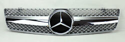 Front Silver & Chrome Hood Sport Grill for Mercedes SL Class R129 W129