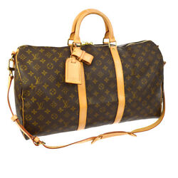AUTH LOUIS VUITTON KEEPALL 50 BANDOULIERE 2WAY TRAVEL HAND BAG MONOGRAM AK18444