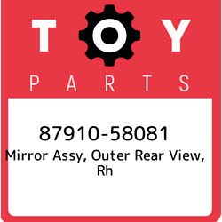 87910-58081 Toyota Mirror Assy Outer Rear View Rh 8791058081 New Genuine Oem