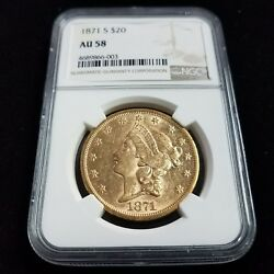 1871 S $20 American Gold Double Eagle NGC AU58 20 Dollar Collector Coin AF6003