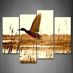 Brown Duck Wetland Wall Art Painting Canvas Print Wild Animal Picture Home Decor