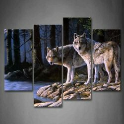 Framed Wolfs Forest Canvas Print Wolf Wall Art Painting Wild Animal Picture