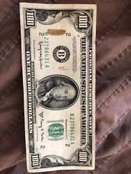 1950 E Series 100 Dollar Bill Federal Reserve Note Authentic Good Condition