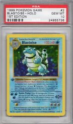 Pokemon Base Set Thick 1st Edition Holo Blastoise 2102 PSA 10 Gem Mint