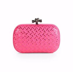 $3780 BOTTEGA VENETA WOMENS PINK WOVEN METALLIC KNOT CLUTCH LEATHER PURSE BAG