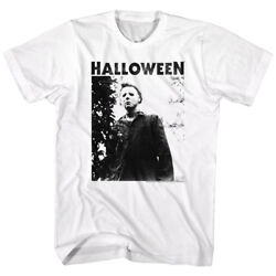 Halloween Movie Michael Myers Masked Title Menand039s T Shirt Film White Horror Photo