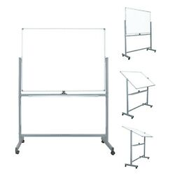 Mobile Dry Erase Magnetic Whiteboard 47 X 36 Double Sided With Rolling Stand