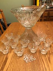 Beautiful Vintage Early American Prescut Glass Punch Bowl Set, Anchor Hocking