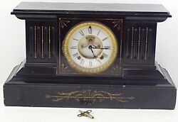 William Gilbert Winsted Mantel Clock Marble 1900and039s Working W/key