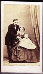 Florence Portrait Of A Nice Family With Their Little Child Cdv 1860 Metzger Vi43