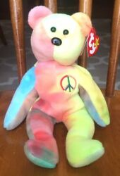 Peace 1996 Ty Beanie Baby Bear Pvc Pellets 4th Gen Hang Tag With Errors
