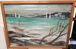 Alfred Birdsey Bermuda Sail Boats Scene Original Oil On Masonite Painting