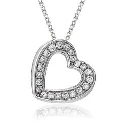 Genuine Diamond Heart Pendant In Solid 18ct White Gold With Chain