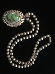 Vintage Navajo Sterling Silver Lg Turquoise Pendent W/ 925 Pearl Bead Necklace.