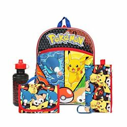 """Pokemon Pikachu and More 16"""" Backpack Back to School Essentials Set for Boy"""