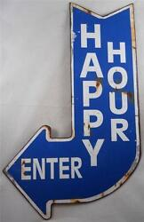Vintage Looking HAPPY HOUR Sign w Curved Arrow Design Bar Signs Dorm Room