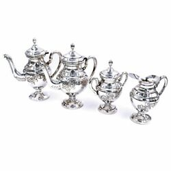 Italian Finely Chiseled Solid Silver Tea And Coffee Set 4 Pieces