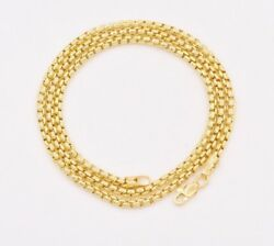 2.5mm Round Box Chain Necklace Real 14k Yellow Gold Lobster Lock All Sizes
