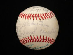 Ny Yankees Old Timers 1980and039s Signed Baseball-25 Sigs W/ Maris And Dimaggio Jsa