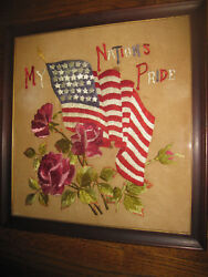 Antique 36 /37 Star American Flag Embroidery Crewel Needlepoint Civil War Period