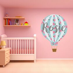 Personalised Pastel Hot Air Balloon Wall Sticker Childrens Bedroom Nursery Decal
