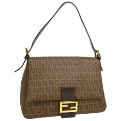 Authentic FENDI Mamma Baguette Zucchino Hand Bag Brown PVC Leather NR11559