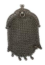 French Victorian Mesh Sterling Silver Chatelaine Coin Purse Change Pouch