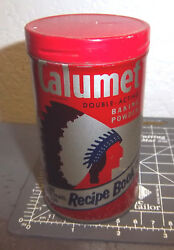 Vintage Calumet 1/2 Pound Baking Powder Tin, Recipe Book Offer On Back Of Can
