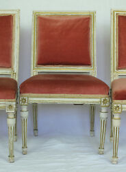Three French Antique 18th Cen. Louis Xvi Period Painted Wood Chairs C. 1780