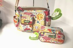 Lily Bloom Libby Hobo Bag and Cosmetic Case Set (2) SPRING SHOWERS pattern NWT