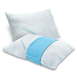 Queen Bamboo Shredded Memory Foam Pillows Size Hypoallergenic Cooling 2 Pack