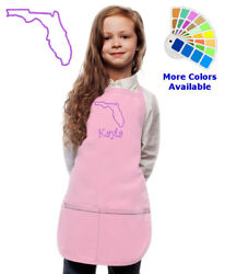 Personalized Kids Apron with Florida Embroidery Design $20.98
