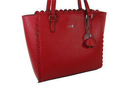Guess Logo Purse Hand Bag Tote Red Rose Hangtag Scalloped Design Cottingham NWT
