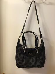 DESIGNER COACH BLACK SILVER SHOULDER PURSE BAG HANDBAG LEATHER DETAIL