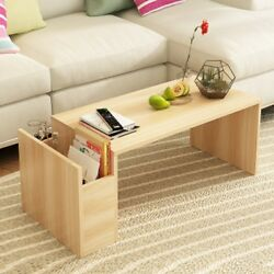 Living Room Wood Cocktail Coffee Table Organizer With Side Storage Drawer
