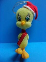 Vintage Tweety Bird Christmas Ornament Flocked Plastic Felt Santa Hat