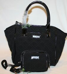 VERA BRADLEY TRIMMED SATCHEL  PURSE W WRISTLET QUILTED IN CLASSIC BLACK