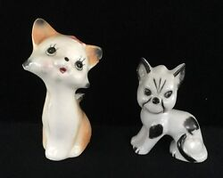 Vintage Kitty Cat Porcelain Ceramic Figurines made Japan Sweet Kitty Evil Kitty