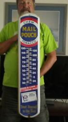 Mail Pouch Chew Sign With Thermometer 8 X 38 3/4 Different From All The Others