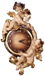 Pendule Avec Anges - Wall Clock Wood Carved With Angels
